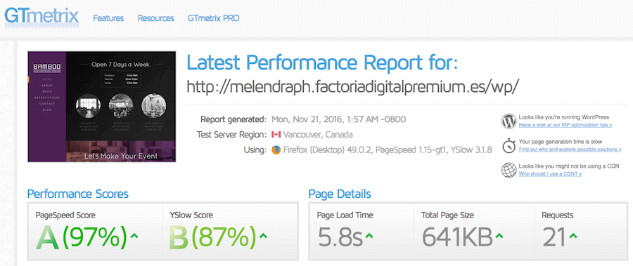 Test de velocidad hecho sobre el hosting de Factoria Digital realizado con GTmetrix