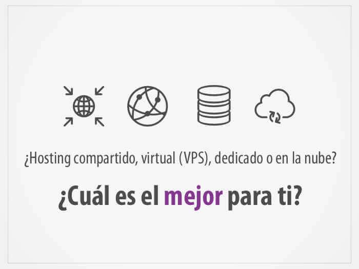 Tipos de hosting: Compartido, VPS, dedicado y en la nube.
