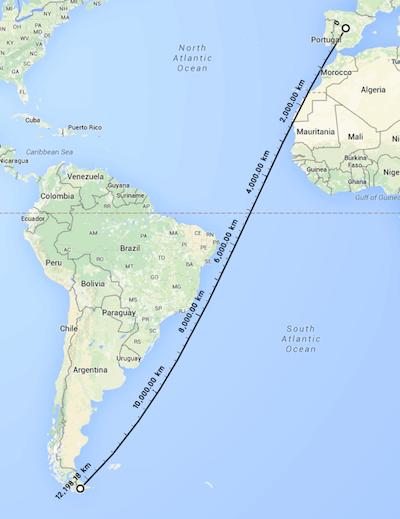 La distancia entre Madrid y PuertoWilliams es de más de 12.000 Km