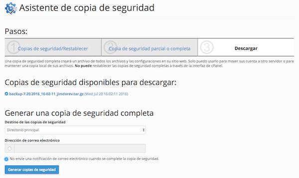 Interfaz para crear copias de seguridad con Webempresa