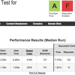 El test de velocidad a Nominalia hecho con Webpagetest.org muestra resultados pobres.