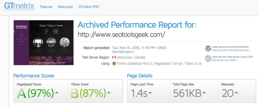 Test de velocidad sobre el hosting de SiteGround hecho con GTmetrix