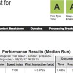 SiteGround - Velocidad medida con Webpagetest