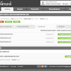 El menú principal de SiteGround