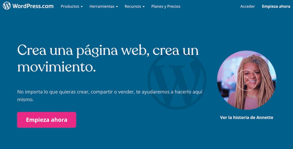 WordPress.com es otro programa para crear sitios web
