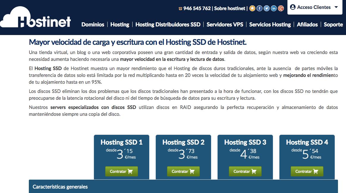 Hostinet - Precios del hosting SSD