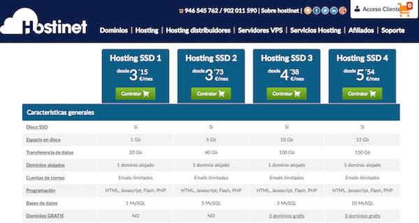 El hosting SSD de hostinet