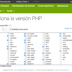 GoDaddy - Control de PHP