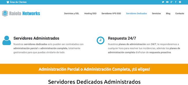 Hosting dedicado de Raiola Networks
