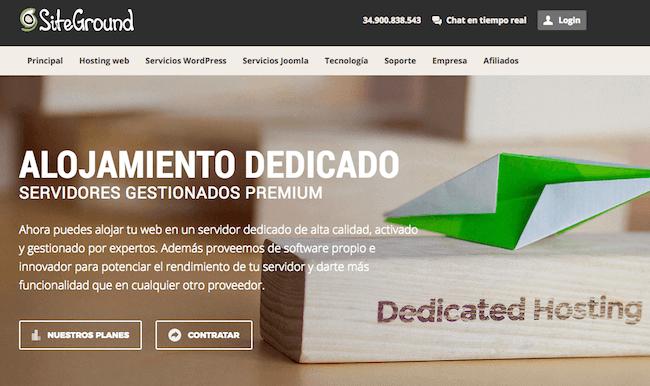 Hosting dedicado de SiteGround