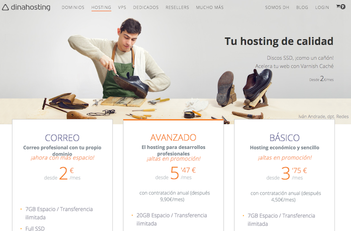 Dinahosting hosting with domain name