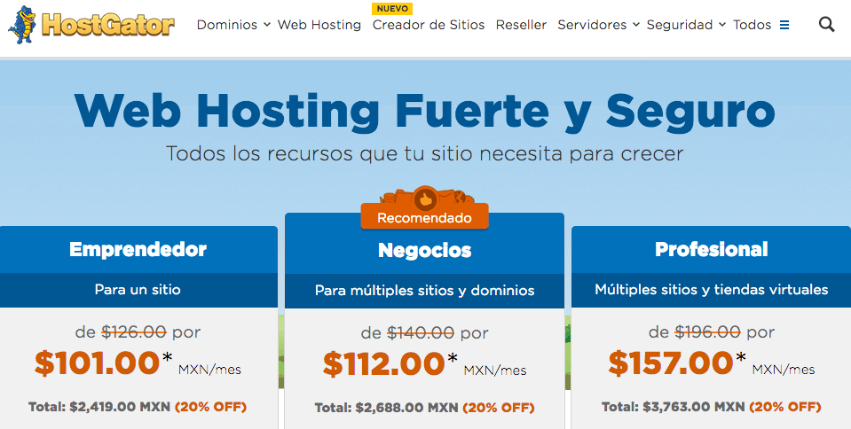 hostgator hosting mexico