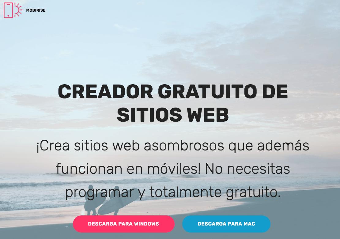 mobirise software paraa crear sitios web