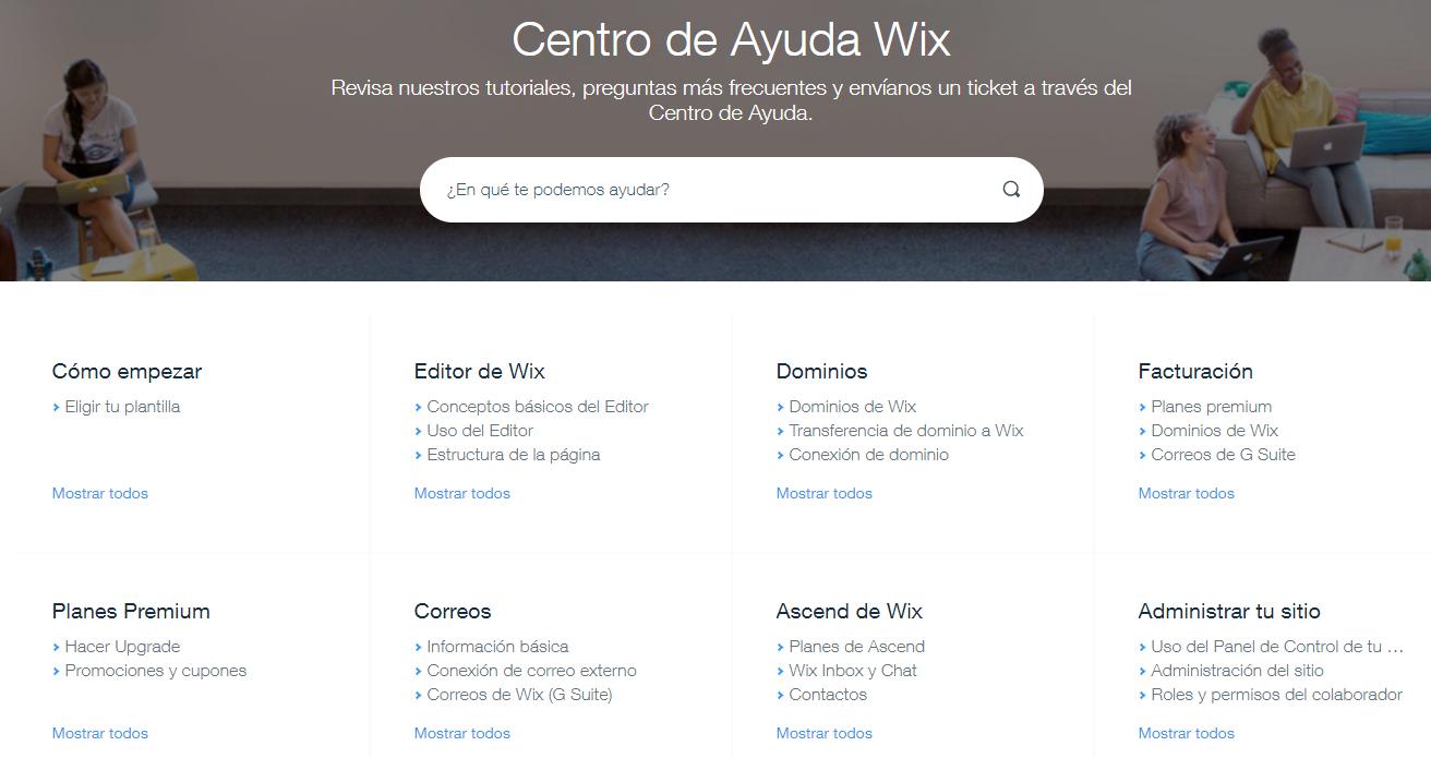 Centro de ayuda de Wix