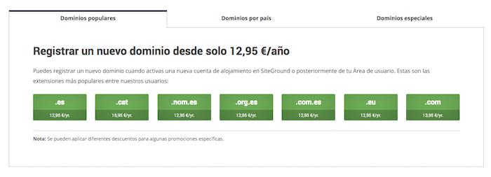 siteground precios de dominios