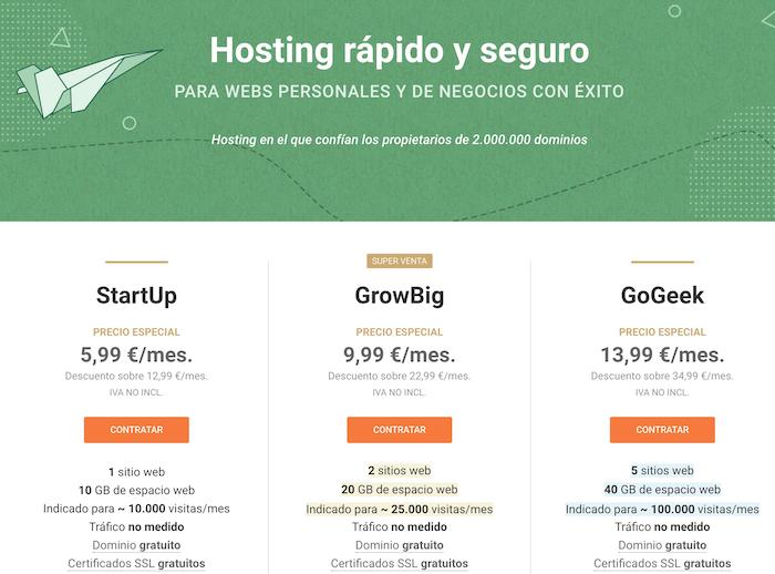 SiteGround y los planes de hosting