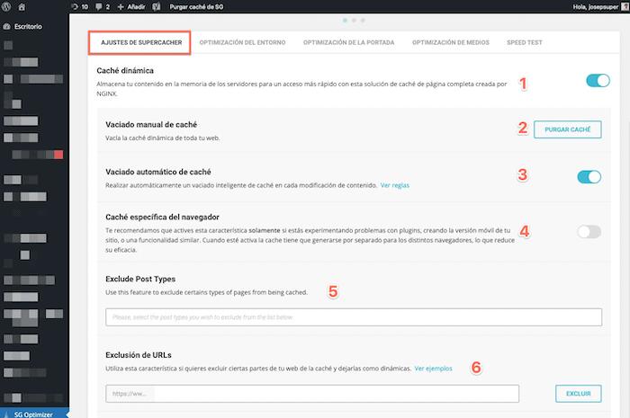 Optimización con SiteGround opciones