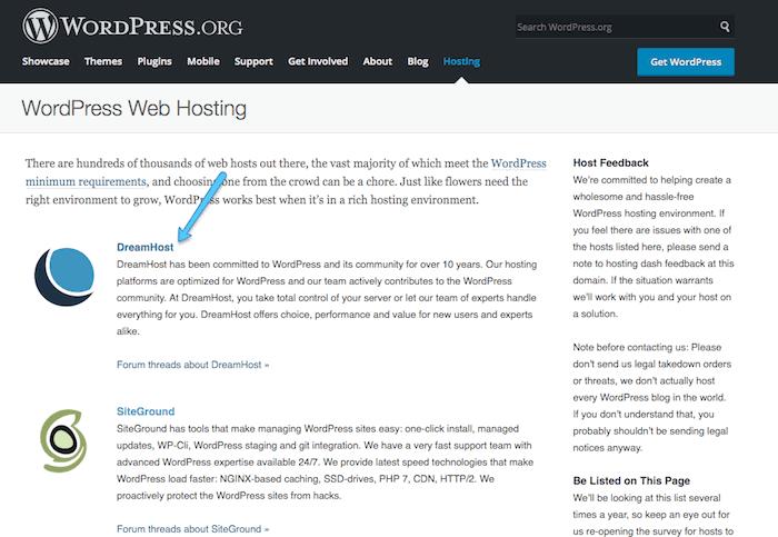 DreamHost es un servicio de hosting recomendado por WordPress
